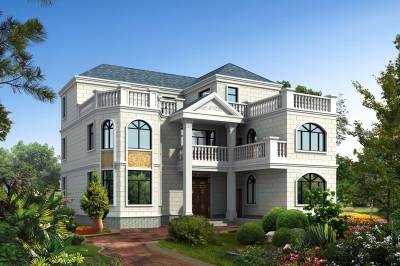 180平现代三层别墅自建房户型图,外观图片很好看