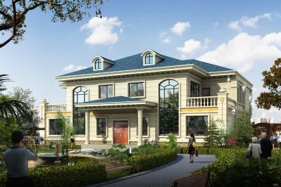 欧式共用门庭二层双拼小别墅设计图纸,可谓一举多得。
