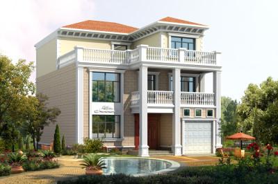 90平方三层别墅设计图,带车库和大露台