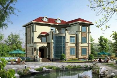 带地下室三层半豪华欧式别墅设计,全套图纸+外观效果图。