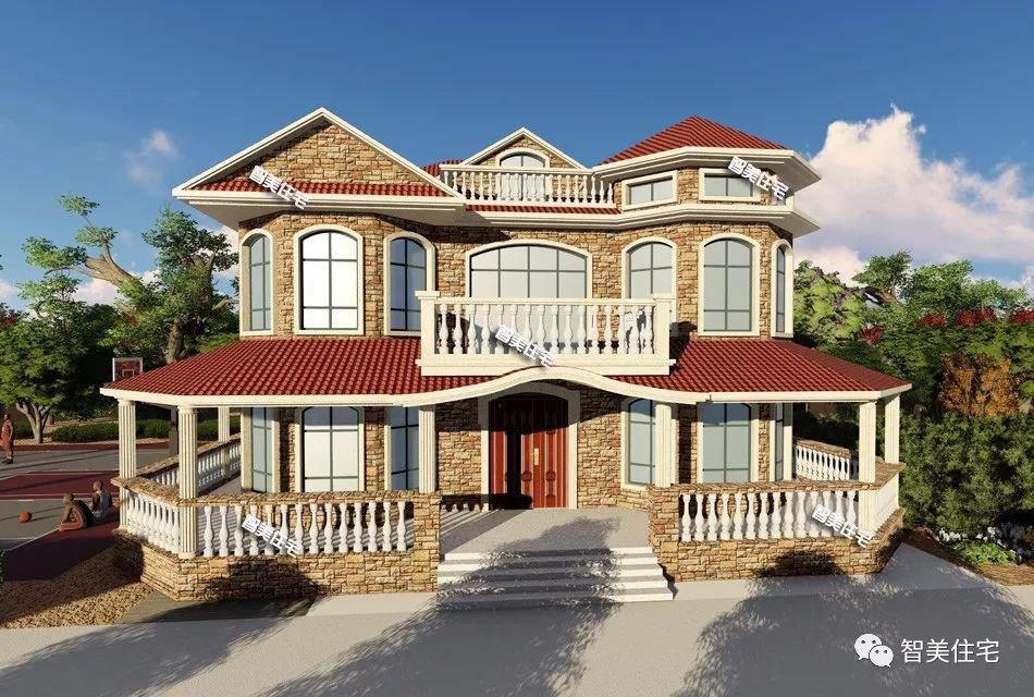农村自建别墅外观图,使用多边形窗造型好,采光佳生活质量优。