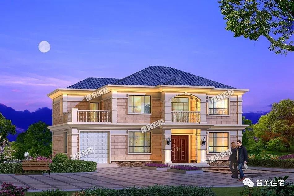 2层自建别墅设计效果图,第二栋配堂屋和土灶房。