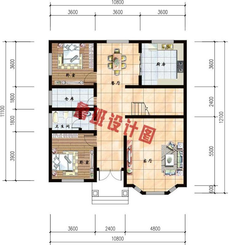 二层复式小别墅一层户型图