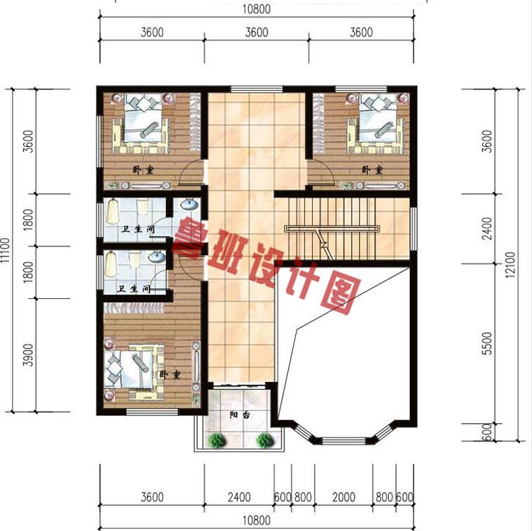 二层复式小别墅二层户型图