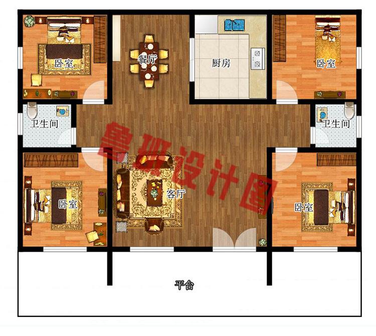 农村10万元一层小别墅户型图