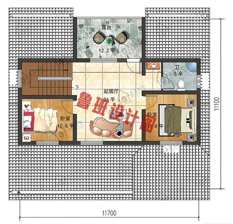 现代一层半楼房二层户型图
