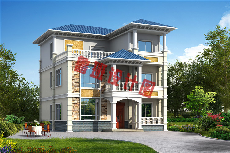 农村120方三层自建房子效果图
