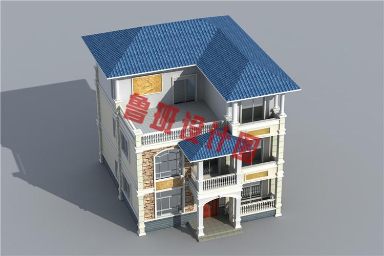 农村120方三层自建房子鸟瞰图