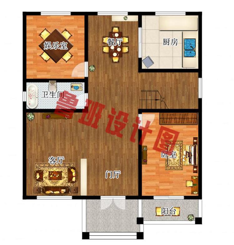 农村120方三层自建房子一层户型图