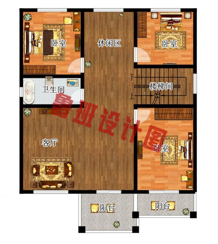 农村120方三层自建房子二层户型图