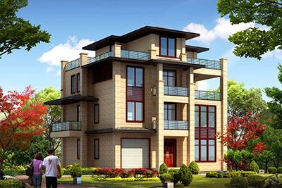 现代新中式四层别墅房屋设计图,含外观效果图