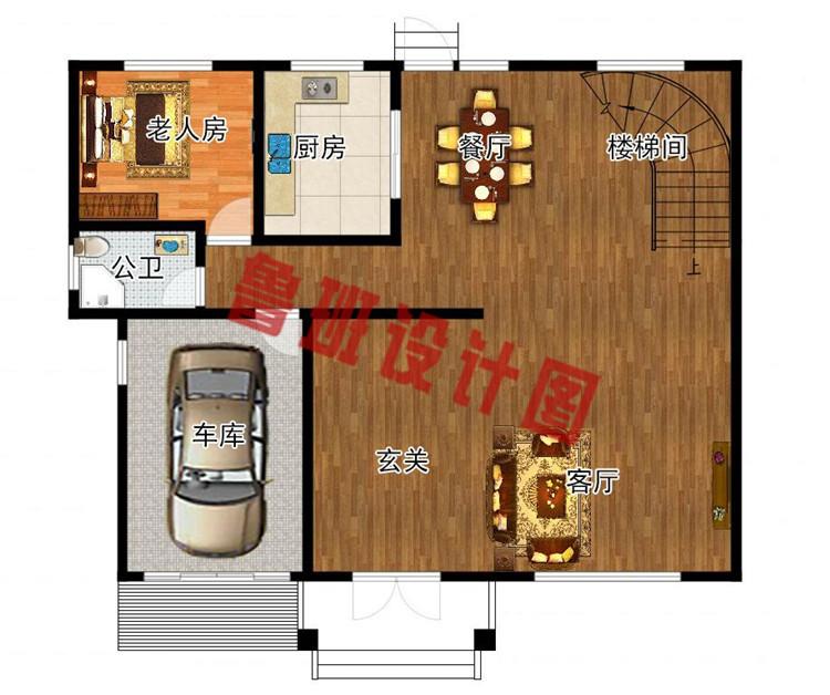 现代新中式四层别墅房屋设计一层户型图