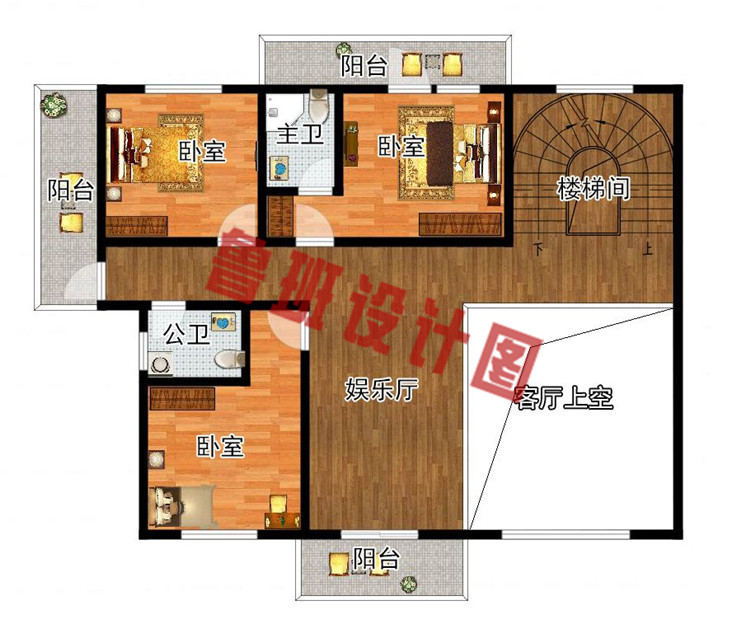 现代新中式四层别墅房屋设计二层户型图