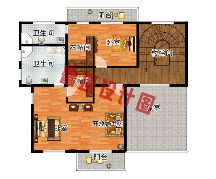 现代新中式四层别墅房屋设计三层户型图