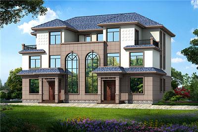 农村三层双拼别墅房屋设计图,外观大气,自建推荐