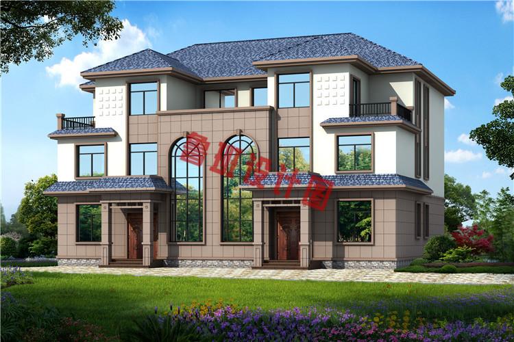 农村三层双拼别墅房屋设计效果图
