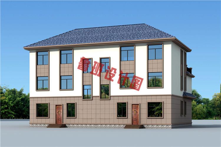 农村三层双拼别墅房屋设计外观图片