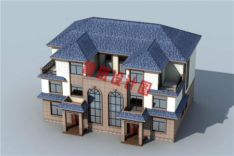 农村三层双拼别墅房屋设计鸟瞰图