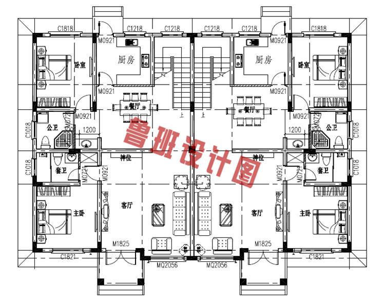 农村三层双拼别墅房屋设计一层户型图