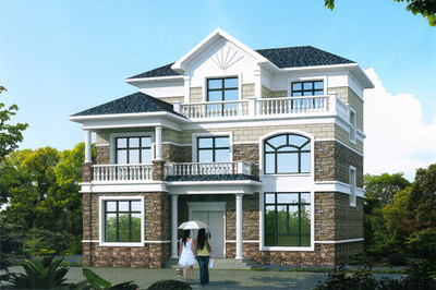 农村30万别墅款式三层小别墅设计图,带通透大落