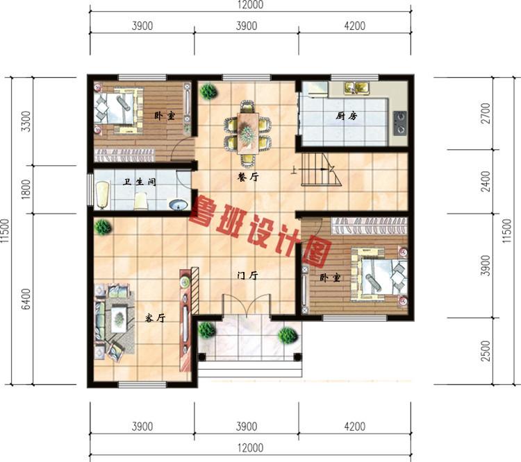 120平米农村30万别墅款式三层小别墅一层户型图