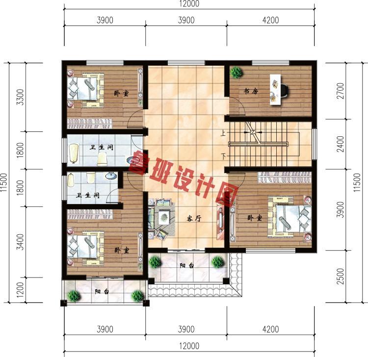 120平米农村30万别墅款式三层小别墅二层户型图