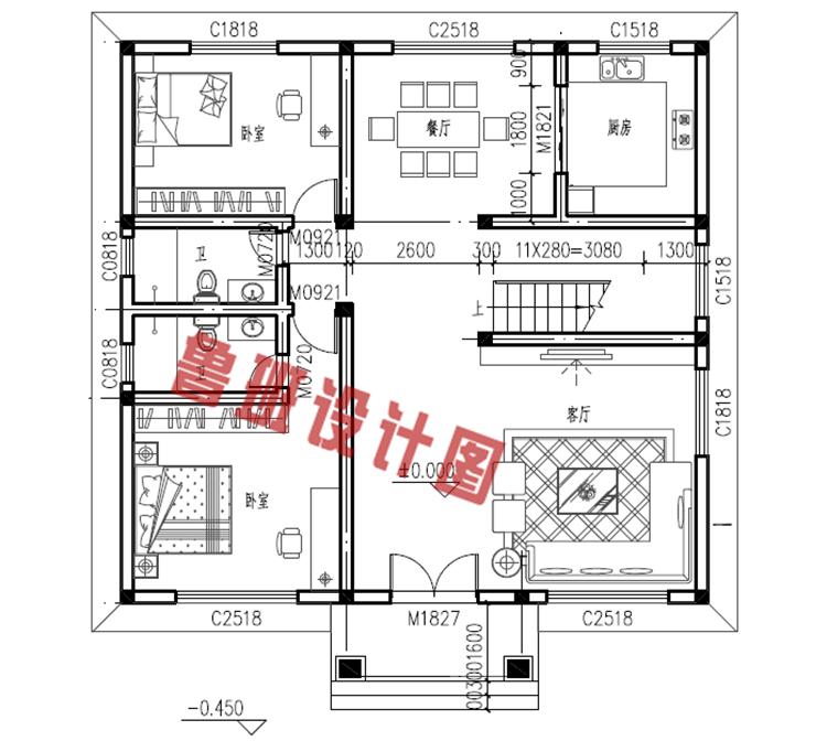 2018新款三间二层别墅一层户型图