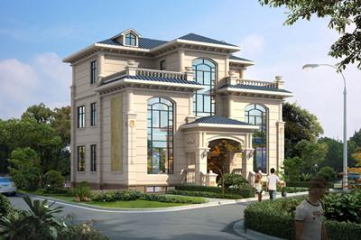 2019年新款别墅外观图附设计图,对称的设计,大窗户