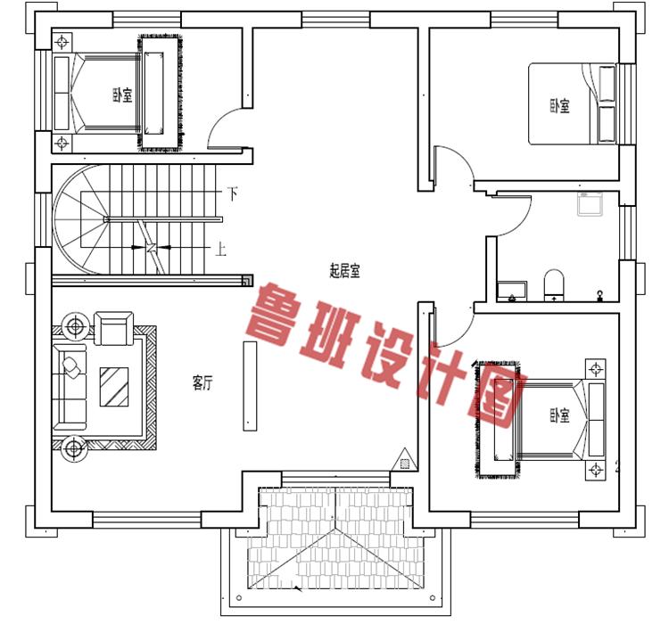 2019年新款别墅外观图二层户型图