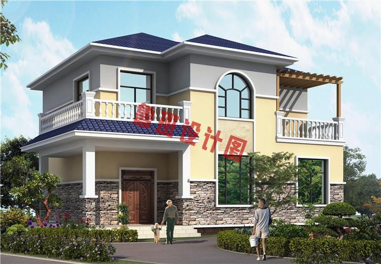 农村自建房两层简欧式别墅图,造价20万左右,超值