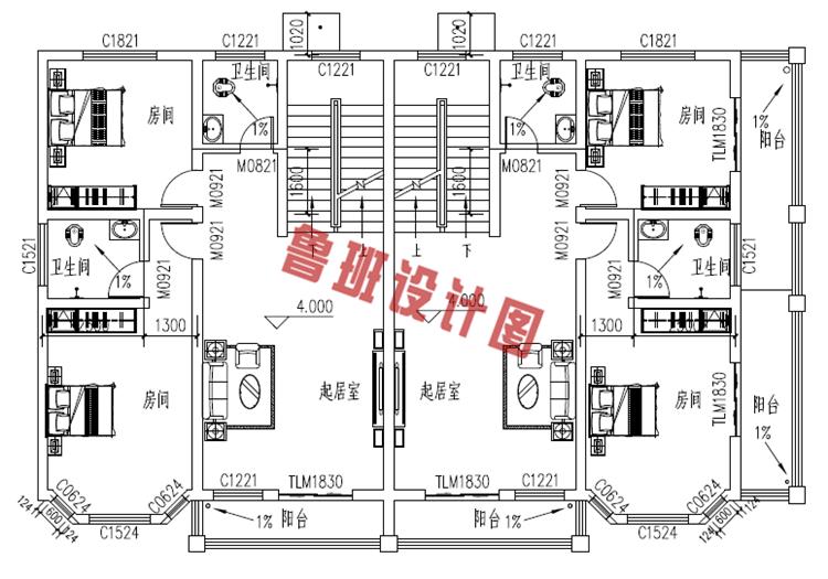 经济型三层双拼别墅设计图,农村兄弟建房的首选