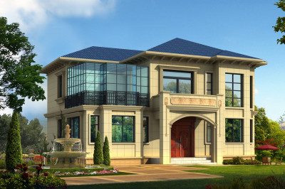 现代风格二层别墅房屋设计图纸,带阳光房