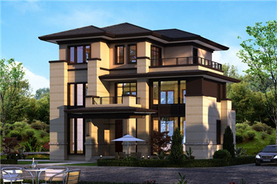 新农村自建别墅三层设计方案图,施工简单造价低!