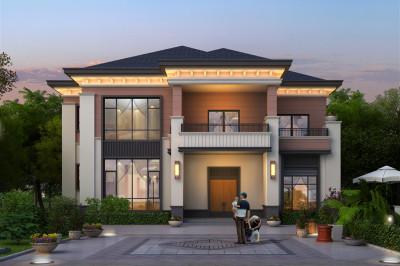 160平二层中式现代别墅设计图纸,户型四面采光