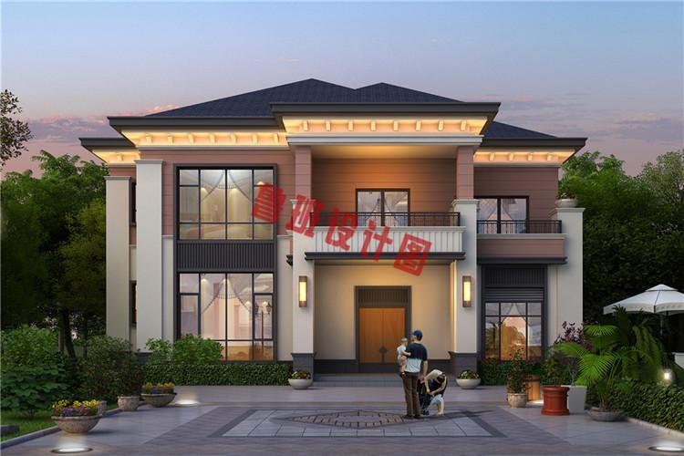 160平二层中式现代别墅设计效果图