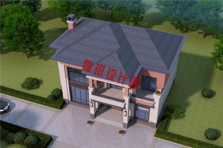 160平二层中式现代别墅设计鸟瞰图