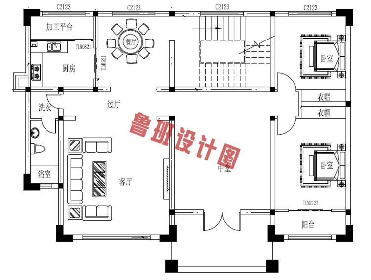 160平二层中式现代别墅设计一层户型图