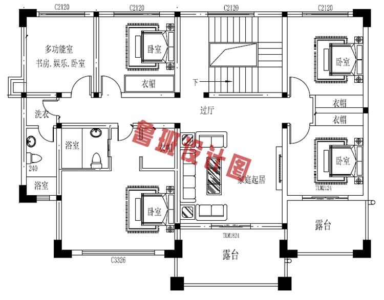 160平二层中式现代别墅设计二层户型图