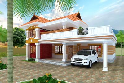 现代带大露台二层别墅房屋设计图,开放式车库