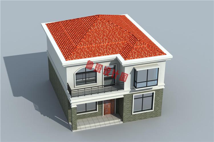 经济实用型二层小别墅鸟瞰图