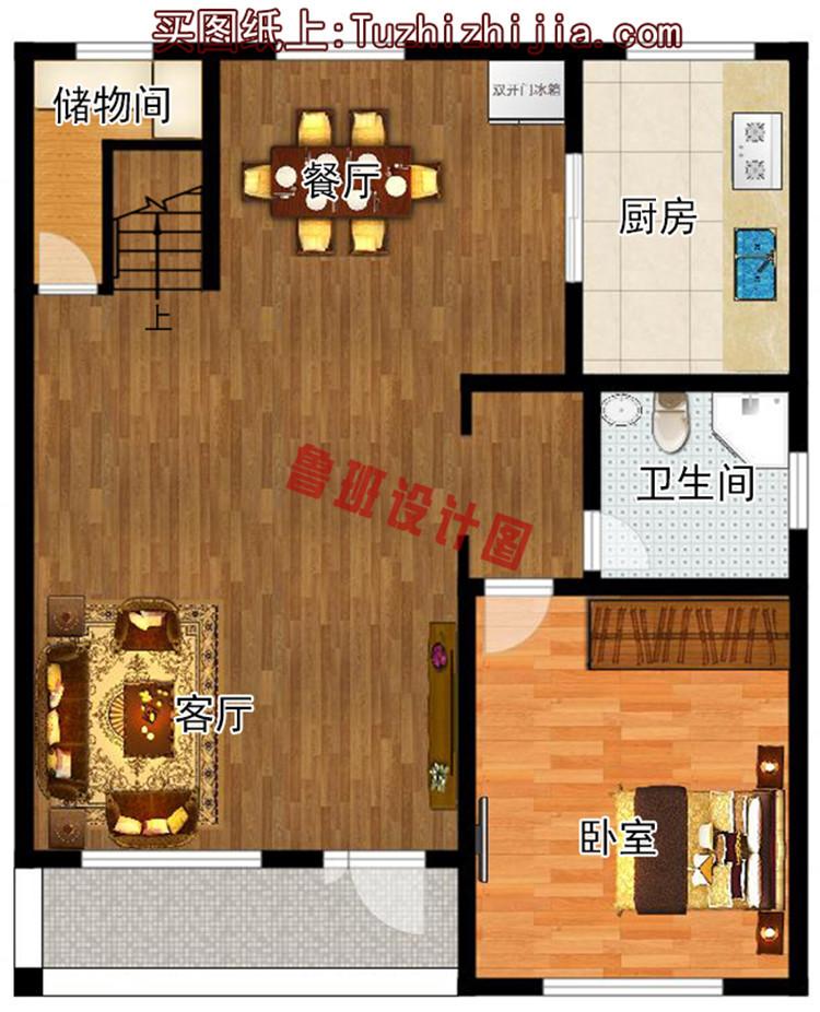 经济实用型二层小别墅一层户型图
