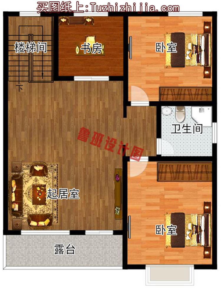 经济实用型二层小别墅二层户型图