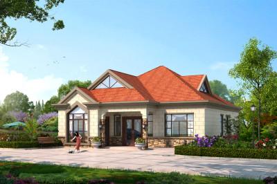 美式田园风格一层房屋别墅设计图,坡屋顶很漂亮