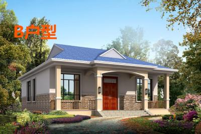 中式典雅型一层别墅设计图,造价18万左右