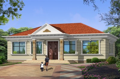 160平一层别墅平房设计图效果图,农村建房的首