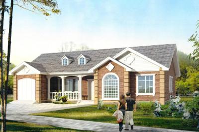 一层美式田园别墅设计图纸,含效果图片,建出