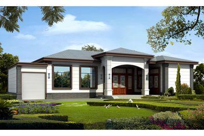 一层中式带车库房屋设计图,户型优雅大方。