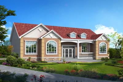 五间一层农村别墅平房设计图,含外观效果图