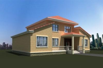 乡村一层带阁楼别墅设计图,中式兼现代风格,
