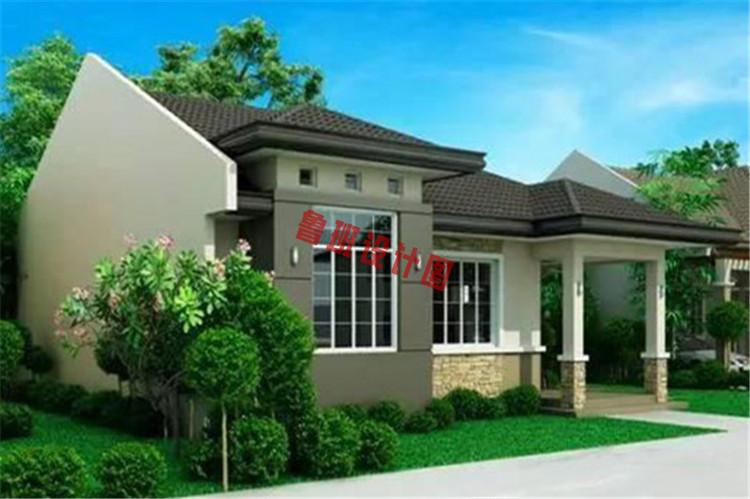 占地160平现代一层(带闷顶)别墅住宅设计左视图